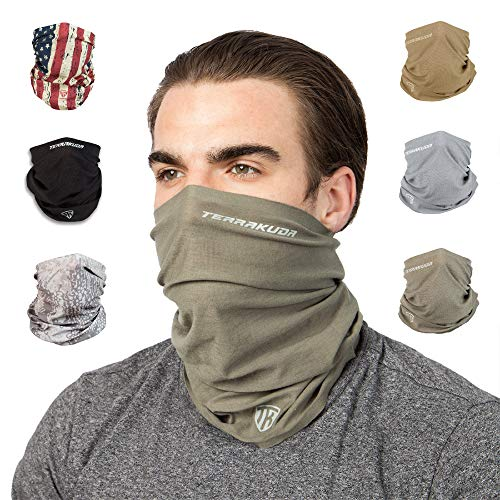Terra Kuda Face Clothing Neck Gaiter Mask – Non Slip Light Breathable for Sun Wind Dust Bandana Balaclava Operator Green