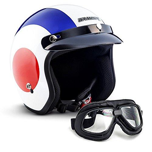 ARMOR Helmets AV-47 Set Jet-Helm Motorrad, Visier Helmet Bleutooth, XXL (63-64cm), Retro