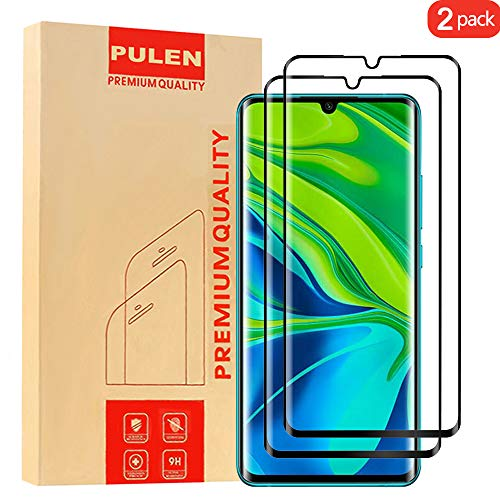 [2-Pack] PULEN for Xiaomi Mi Note 10 and Note 10 Pro Tempered Glass Screen Protector,Full Screen Coverage Anti-Scratch Bubble Free 9H Hardness (Black)