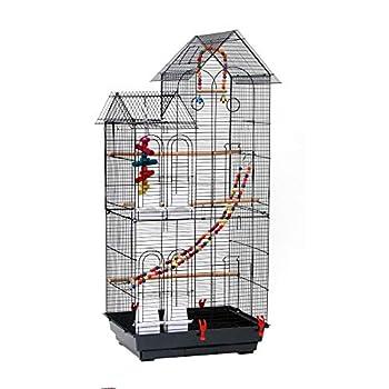 Voliere Oiseaux Interieur, Cage à Oiseaux avec 2 Toits, Équipée 3 Perchoir en Bois, 4 Mangeoires, 3 Jouets, Cage d'Elevage Oiseaux en Métal Perruche Perroquet Canari, 52 x 41 x 116cm, Noir
