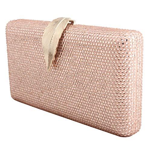 LETODE Damen Abend-Handtaschen, Metall mit Glitzersteinen, für Hochzeit, Party, Brautgeldbörse, (8436-champagner), Small