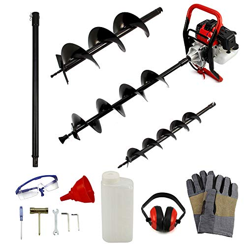 OUNUO 52cc 2Stroke Petrol Earth Drill Auger Fence Post Ground Hole Borer Digger, 3HP 9000RPM 3 Drill Bits & Extension, 1.2L Tank, Heavy Duty Petrol Earth Auger with 4 Inch / 6 Inch / 8 Inch Drill Bit
