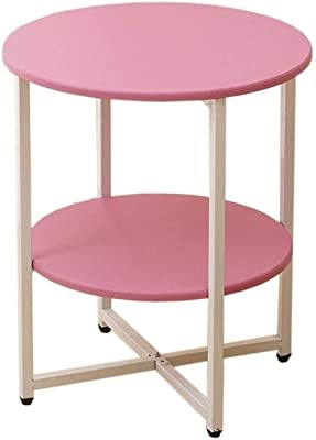 Nordic Small Round Table, Small Coffee Table, Solid Wood Table top, Bedside Table Shelf, Portable,47x40cm Suitable for Living Room and Bedroom,Pink