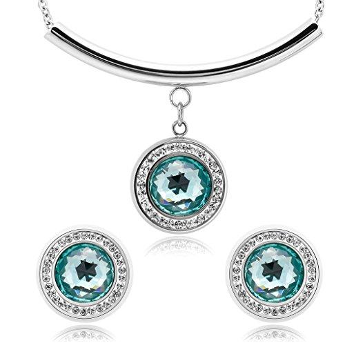 Daesar Joyería Conjunto Collar y Pendientes de Mujer con Morganita y Halo de Diamantes Estilo Vintage Acero Inoxidable Colgantes y Atres Juego de Joyas