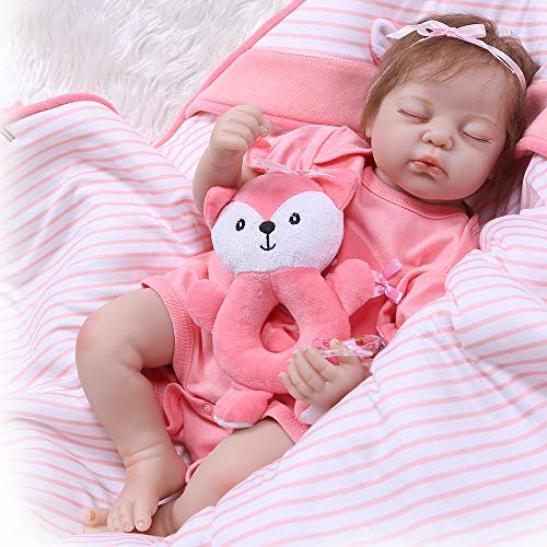 iCradle Lifelike Reborn Baby Girl Doll 22inch 55cm Soft Silicone Realistic Looking Newborn Dolls Toddler Doll Toy for Ages 3+