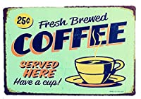 Charming Crew 復古調 ブリキ看板 アメリカン ガレージ カフェ 落としたてコーヒー 復刻版 アンティーク風 雑貨 おしゃれ インテリア Fresh Brewed Coffee