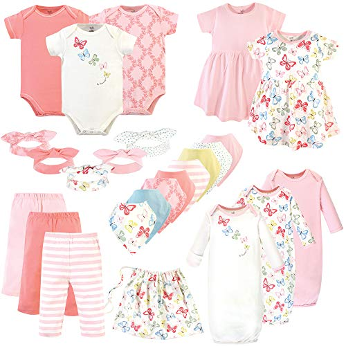 Touched by Nature Baby Girls Organic Cotton Layette Set and Giftset, Butterflies, 0-6 Months