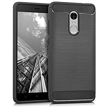 kwmobile TPU Silicone Case Compatible with Xiaomi Redmi Note 4 / Note 4X - Soft Flexible Shock Absorbent Protective Phone Cover - Brushed Carbon Anthracite