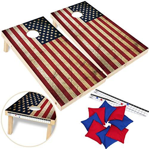 EXERCISE N PLAY Wood Premium American Flag Cornhole Set, Backyard Lawn Cornhole Outdoor Game Set, Regulation Size 4ft x 2ft Cornhole Boards & 8 Cornhole Bean Bags & 2 Cornhole Scoreboards