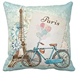 Kissenday 18X18 Inch Popular Romantic Paris Bike Flower Cotton Polyester Decorative Home Decor Sofa Couch Desk Chair Bedroom Car Lovely Sweet Birthday Cool Novelty Gift Square Throw Pillow Case