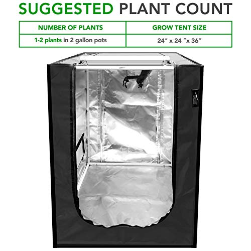 """iPower 24"""" x24"""" x36"""" Mylar Hydroponic Water-Resistant Grow Tent with Observation Window and Removable Floor Tray for Indoor Plant Growing Seedling"""