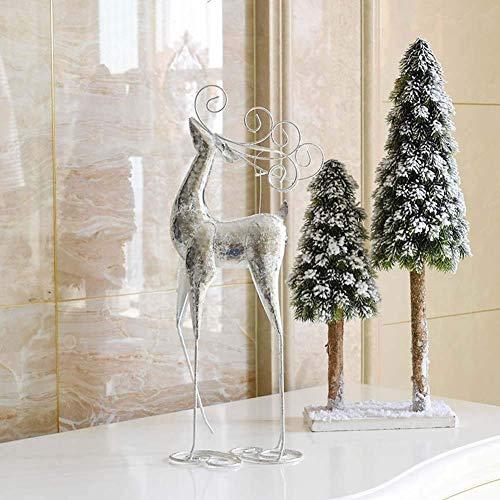 LGR Exquisite Weihnachtselche Ornamente Schmiedeeisen Hirsch Figur Kunstskulptur für Wohnaccessoires Fenster anzeigen Weihnachtsdekorationen (Größe: 47,5 20 cm)