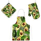Orediy Juego de 3 baberos de cocina con bolsillos, guantes de horno resistentes al calor con soportes para ollas, hojas tropicales de aguacate, delantal para hornear para cocinar
