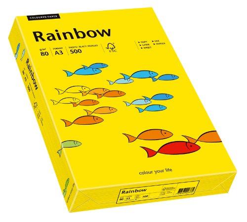 Papyrus 88042390 Drucker-/Kopierpapier farbig, Bastelpapier: Rainbow 80 g/m², A3, 500 Blatt, intensivgelb
