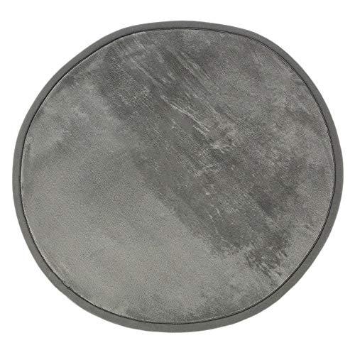 Tapis Rond Extra Doux Antidérapant, 70cm Diamètre, Gris