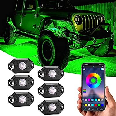 RGB LED Rock Lights Kit, 6 pods RGB Multicolor Neon Underglow Waterproof Music Lighting Kit with APP Control Timing, Flashing, Music Mode Trail Rig Lights for Off Road Truck SUV Utv ATV Boat