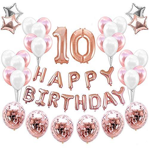 10. Geburtstagsdeko Banner Ballon,Geburtstagsparty Dekoration Nummer 10 Luftballon Rosegold, Aufblasbar Helium Folienballon+Happy Birthday Folienballon+ 30 Ballon+ 4 Stern Ballon