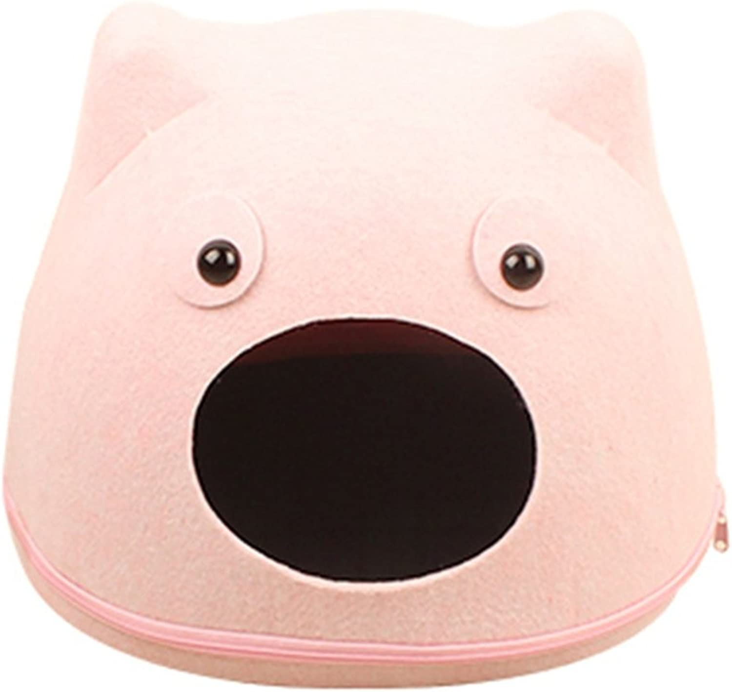 Cartoon cat face Felt cat Litter Autumn and Winter Blankets Removable Washable Cotton nest Felt nest Small Animal Beds (color   Pink, Size   OneSize)