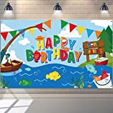 Gone Fishing Birthday Party Decorations Supplies Fisherman Birthday Banner Party Backdrop for Kids Boys Fishing Party Banner Photography Background Photo Booth 70.8 x 43.3 Inch