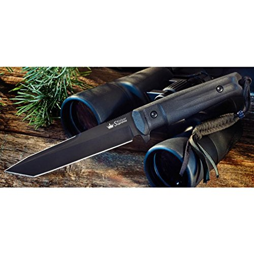 Kizlyar KK0013 Aggressor AUS-8 Russian Made Titanium Tactical Knife, Black, One Size