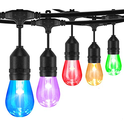 2-Pack 48FT Colorful Outdoor String Lights, RGB LED String Light with 30+5 LED Bulbs, Multicolored Dimmable Commercial Patio café Backyard Garden Lights, 2 Remote Controls, Waterproof , 96FT Total