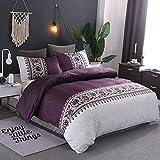 Juego de ropa de cama con diseño de flores vintage para mujeres adultas, funda de edredón con fundas de almohada, diseño étnico nórdico, color liso, para decoración de hotel y hogar