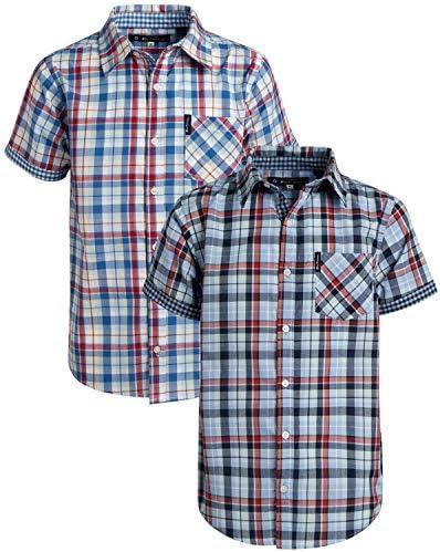 Ben Sherman Boys Short Sleeve Button Down Woven Dress Shirt 2 Pack Light Blue Red Plaid Size product image