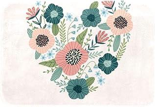 EGGDIOQ Doormats Flower Heart Shaped Custom Print Bathroom Mat Waterproof Fabric Kitchen Entrance Rug, 23.6 x 15.7in