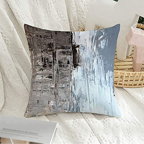 Decorative Square Throw Pillow Cover Contemporary Home Modern Office Artwork Brown Knife Palette Grey Abstract Painting Beige Wall Pillow Cover for Sofa Couch Decoration,18'x18'