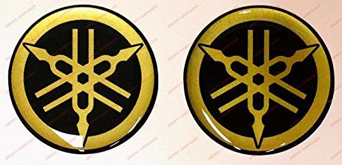 Logo-sticker Yamaha, harscoating, 3D-effect, 2 stuks, kleur: zwart, goud. Voor tankdeksel of helm.