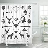 Abaysto Hunting and Fishing Vintage Deer Head Hunter Weapons Forest Wild Animals Bathroom Decor Shower Curtain Sets with Hooks Polyester Fabric Great Gift