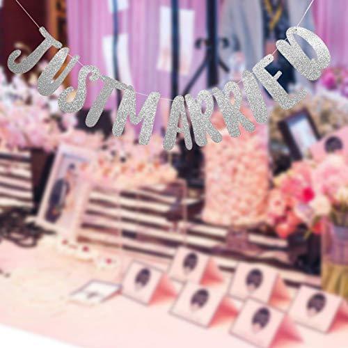 Omabeta Pancarta de papel Just Married para postre o decoración de mesa de regalo (recién casados)