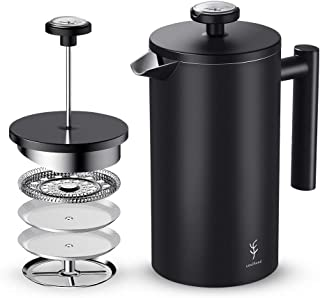 French Press Coffee Maker,Soulhand Double-Wall Stainless Steel Coffee Maker with 2 Extra Filters,Coffee Scoop and Timer
