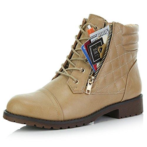 DailyShoes Women's Ankle Boots Combat Low Heel Lace Up Zip Pocket Exclusive Credit Card Bootie Susan-01 Beige Pu 9