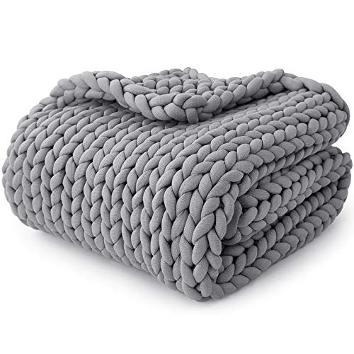YnM Knitted Weighted Blanket, Hand Made Chunky Knit Weighted Throw Blanket for Sleep, Stress or Home Décor (French Silver, 60''x80'' 15lbs), Suit for One Person(~140lb) Use on Queen/King Bed