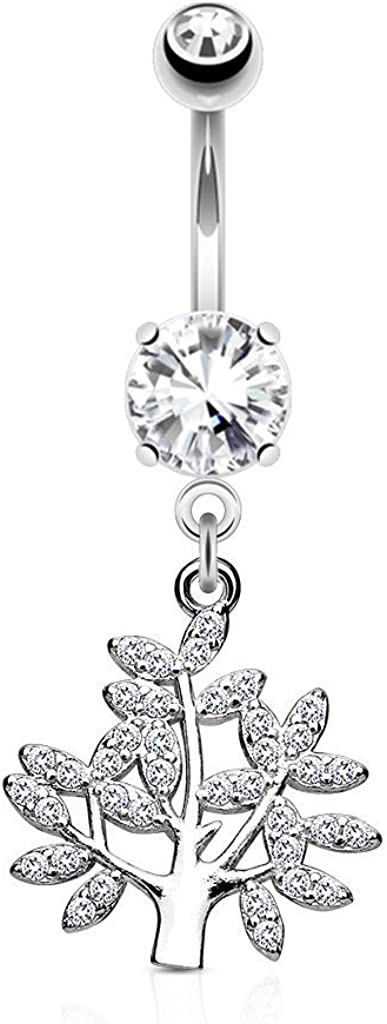 Covet Jewelry Micro CZ Paved Life Tree Dangle and Round CZ Set 316L Surgical Steel Belly Button Navel Rings