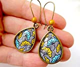 Boucles d'oreilles wax gouttes Fleurs jaune turquoise africain tissu wax motifs Ethniques