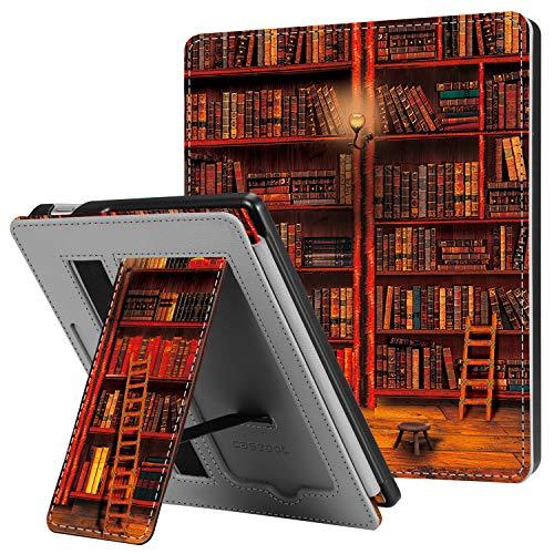 CASEBOT Hülle kompatibel für Kindle Oasis 10. Generation (2019 Modell) & 9. Generation (2017 Modell) - Kickstand Schutzhülle mit Kartenfach, Handschlaufe & Auto Wake/Sleep, die Bibliothek