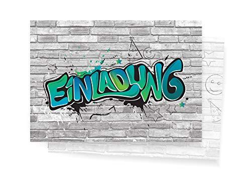 Friendly Fox Einladung Graffiti Art - 12 Graffiti Einladungskarten zum Geburtstag Kinder Jungen Mädchen Teenager - Einladung Kindergeburtstag - Partyeinladung Graffiti - Coole Einladung (Blau)