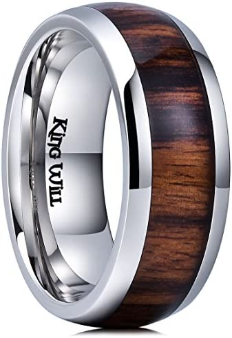 King Will Nature 8mm Mens Real Wood Inlay Titanium Wedding Ring High Polished Dome Style11 5 product image