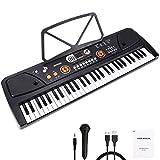 WOSTOO Teclado Electrónico Piano 61 Teclas, Teclado de Piano Portátil con Atril, Micrófono, Fuente d...