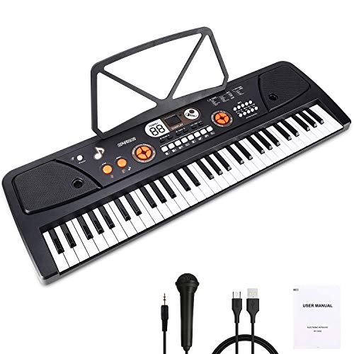 WOSTOO Teclado Electrónico Piano 61 Teclas, Teclado de Piano Portátil con Atril, Micrófono, Fuente de Alimentación, Música Digital, Teclado de Piano para Niños - Negro