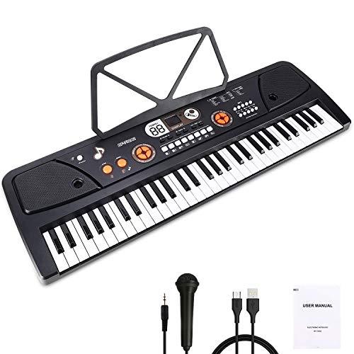 WOSTOO Kinder Keyboard, Multifunktions Digital Piano 61 Tasten Keyboard Set mit Mikrofon Notenständer Für Kinder Geschenk,ideal für Kinder, Musikalisches Spielzeug - Schwarz