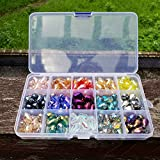 Chengmu 10x15mm Teardrop Glass Beads for Jewelry Making 180pcs AB Colour Faceted Vertical Hole Crystal Prism...