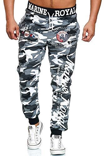 L.gonline Jogginghose Herren lang   Trainingshose Baumwolle   Sporthose mit Bündchen   Enger Beinabschluss   Marine 5258 (L, Grau/Camo)