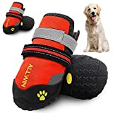 ALLWIN Dog Boots for Medium and Large Dogs - Waterproof Dog Shoes Pet Paw Booties with Reflective Straps Non Slip Sole Outdoor Big Dog Snow Boot for Winter Warm 4PCS (Size 6: 2.6'x2.3'(LW), Orange)