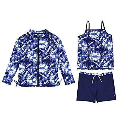 SwimZip Girl 3 Piece Long Sleeve Rash Guard, Tankini & Shorts Set | Tie Dye - 3T