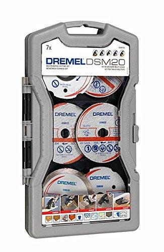 Dremel DSM705 Multifunktions Schneideset, Zubehör Set mit 7 Trennscheiben für Kreissäge DSM20 für Zahlreiche Schneidanwendungen