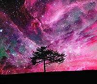 Ljjlm 3Dメガパープル星空Sky壁紙壁印刷デカールウォールデコ屋内壁-290X190Cm