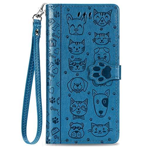 Capa carteira XYX para iPhone 7 Plus/iPhone 8 Plus de 5,5 polegadas, capa carteira de couro PU com estampa de gato e cachorro em relevo para cartões de crédito, compartimento para cartões de crédito, à prova de choque, flip magnético com alça de pulso, azul